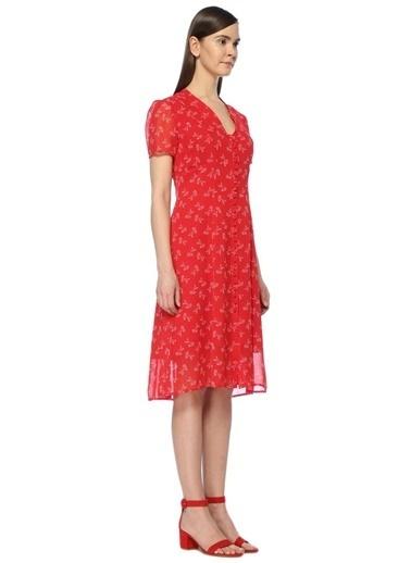 V Yaka Çiçekli Midi Elbise-The Kooples